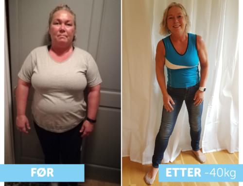 Hege har gått ned 40 kg og sluttet på kolesterolmedisin